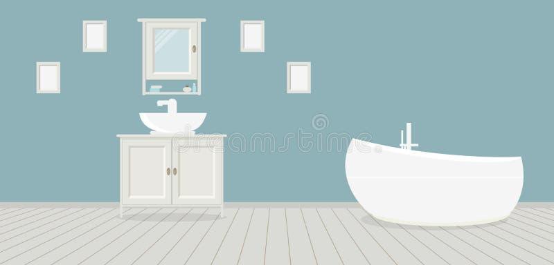 Provencal-Artbadezimmer mit Waschbecken, einer Garderobe, einem modernen Bad und Malereien auf der blauen Wand Hellgraue hölzerne lizenzfreie abbildung