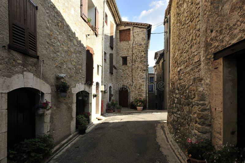 La Palud sur Verdon, Provence, France. Provencal historic street in La Palud-sur-Verdon village in the Alpes-de-Haute-Provence department - France royalty free stock photos