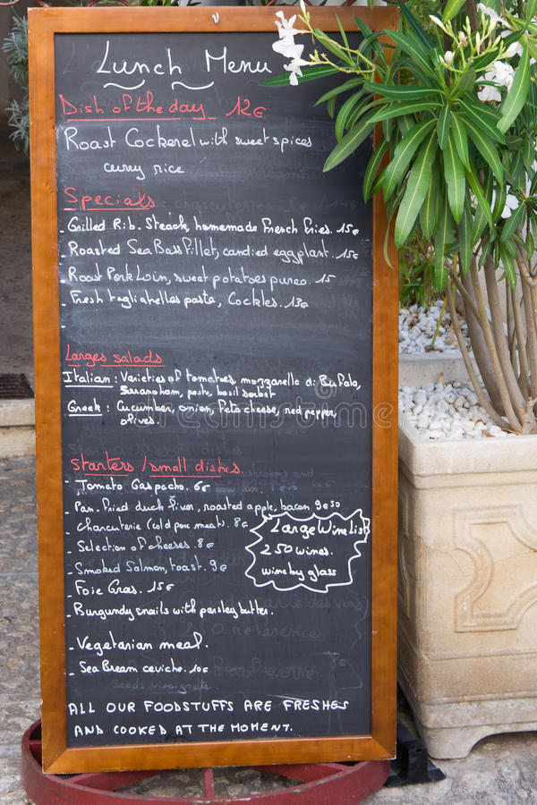 Provencal menu deska zdjęcia royalty free