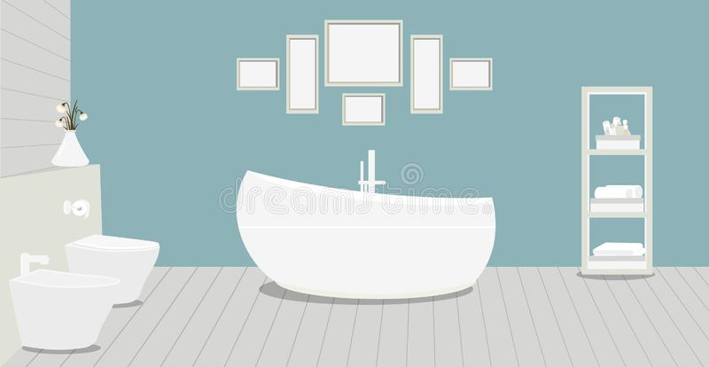 Provencal style bathroom with a fashionable bath,toilet, bidet, toilet paper,vase with snowdrops,a rack for towels and cosmetics,. Paintings on blue wall vector illustration
