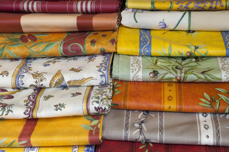 Provencal style napkins (Provence,France). Provencal style napkins in a street market of St. Remy de Provence (France royalty free stock image