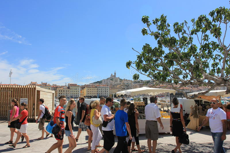 Marseille Old port - south France, with people royalty free stock images