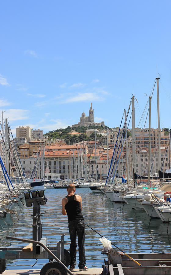 Marseille Old port - south France fishing stock photo