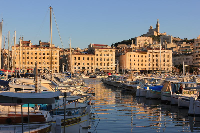 Marseille Old port south France at sunset royalty free stock photos
