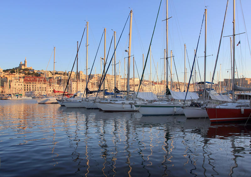 Marseille Old port south France at sunset royalty free stock photography