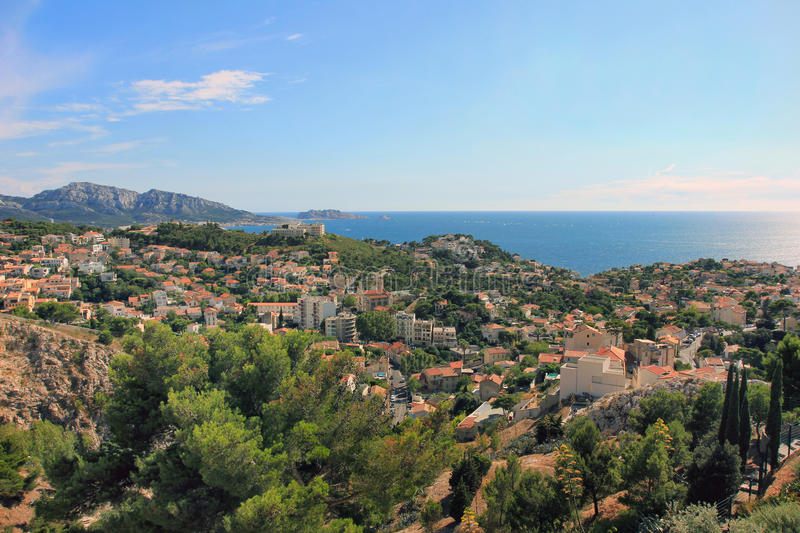 South France - view on sea coast royalty free stock photography