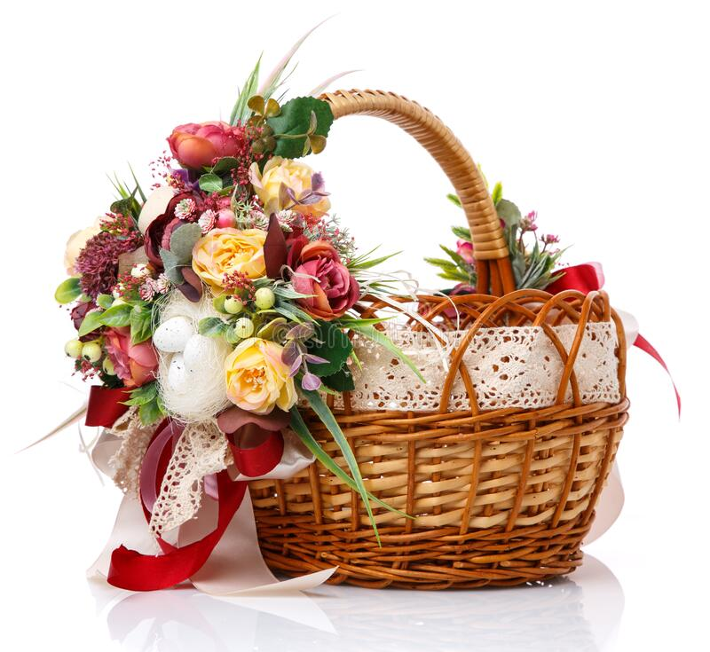 Free Provence Easter Floral Arrangement On A White Wicker Basket With A Vine. Isolated. Ribbons And Lace Stock Image - 187873731