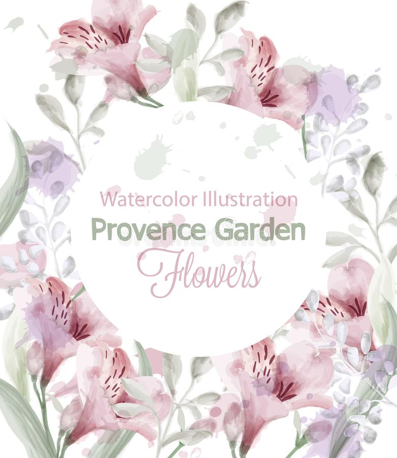 Provence flowers wreath Vector watercolor. Lavender delicate pastelate colors. Provence flowers wreath Vector watercolor. Lavender delicate pastelate color royalty free illustration