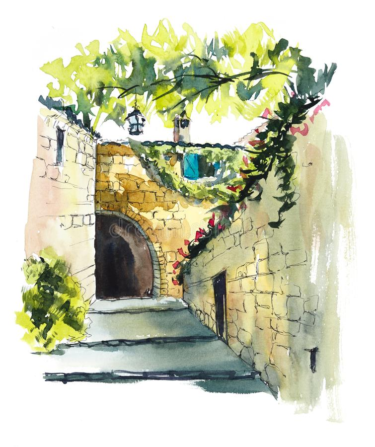 Provence. Hand drawing illustration. Black pen and watercolor royalty free illustration