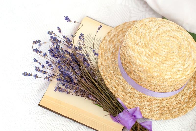 Provence hemgarnering Provence och lantlig stil Organisk lavendel, aromatherapy Utbildning litteratur, kunskap, läsning lurar arkivfoto