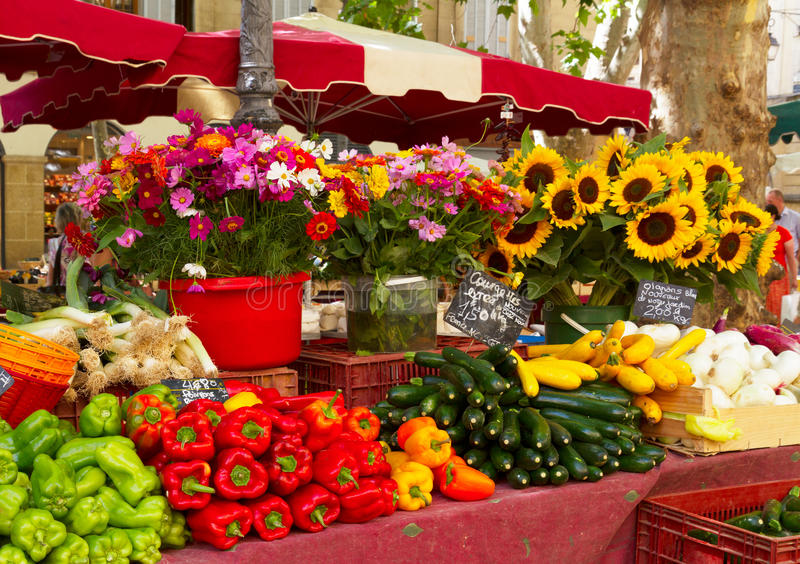 Provence market. With local food and flowers stock photos