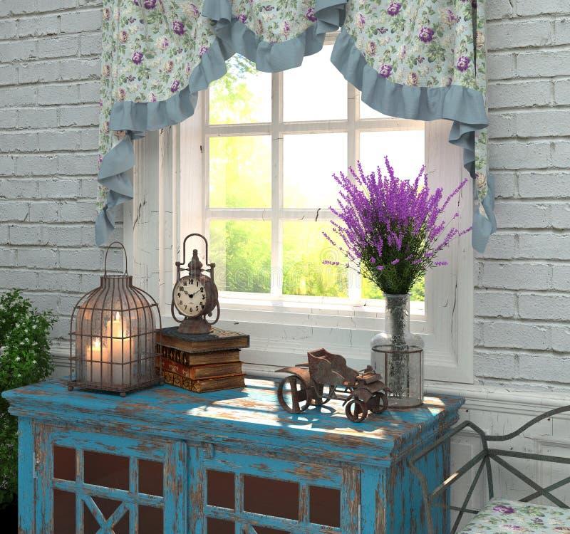 Provence stil i inre Sammansättningen vid fönstret med lavendel och antikviteter framförande 3d stock illustrationer