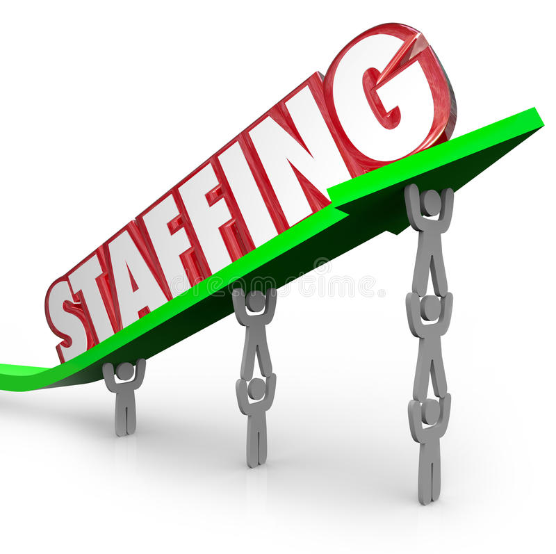 Provendo de pessoal a seta da palavra levantada por alugueres dos trabalhadores dos empregados ilustração do vetor