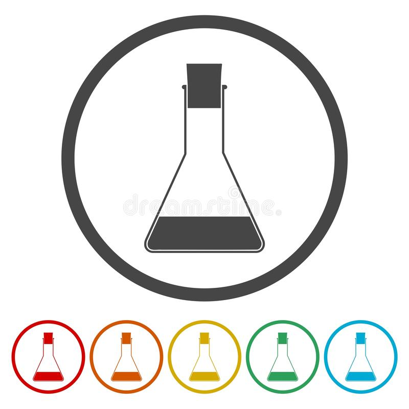 Provetta di vetro del laboratorio chiuso con l'icona semplice del segno liquido di simbolo su fondo illustrazione vettoriale