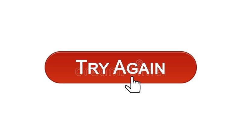 Provi ancora il bottone dell'interfaccia di web cliccato con colore rosso del vino del cursore del topo, supporto illustrazione di stock