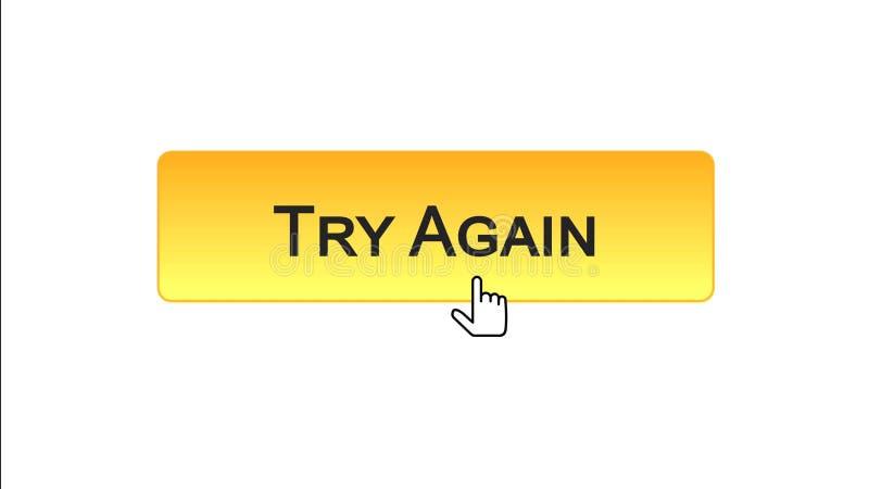Provi ancora il bottone dell'interfaccia di web cliccato con il cursore del topo, il colore arancio, supporto royalty illustrazione gratis