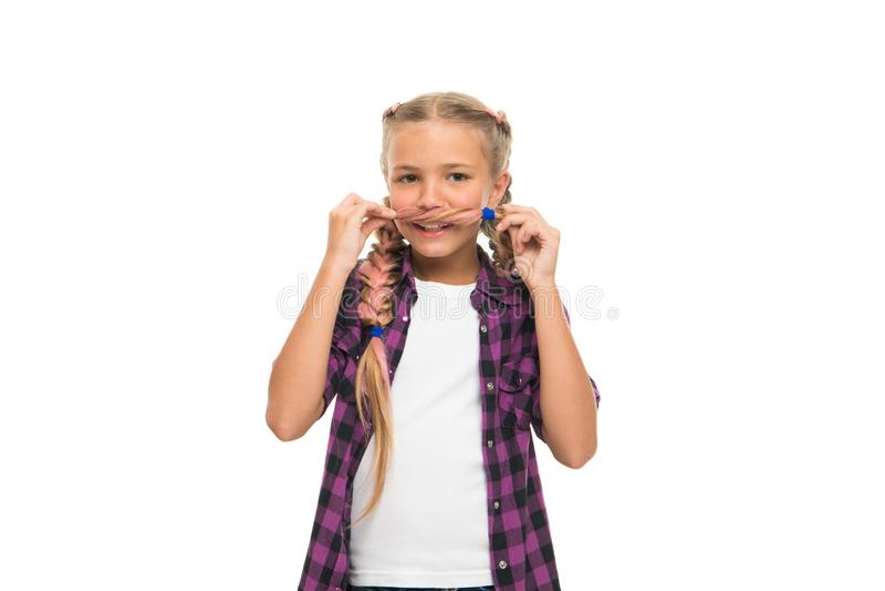 Provi i baffi sopra Concetto dei capelli facciali La ragazza lungamente intreccia il fondo bianco isolato Tenga l'acconciatura in immagini stock libere da diritti