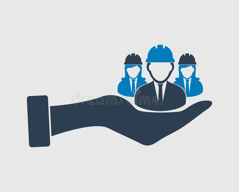 Provide Worker facility icon. Male and female engineer symbol on hand royalty free illustration