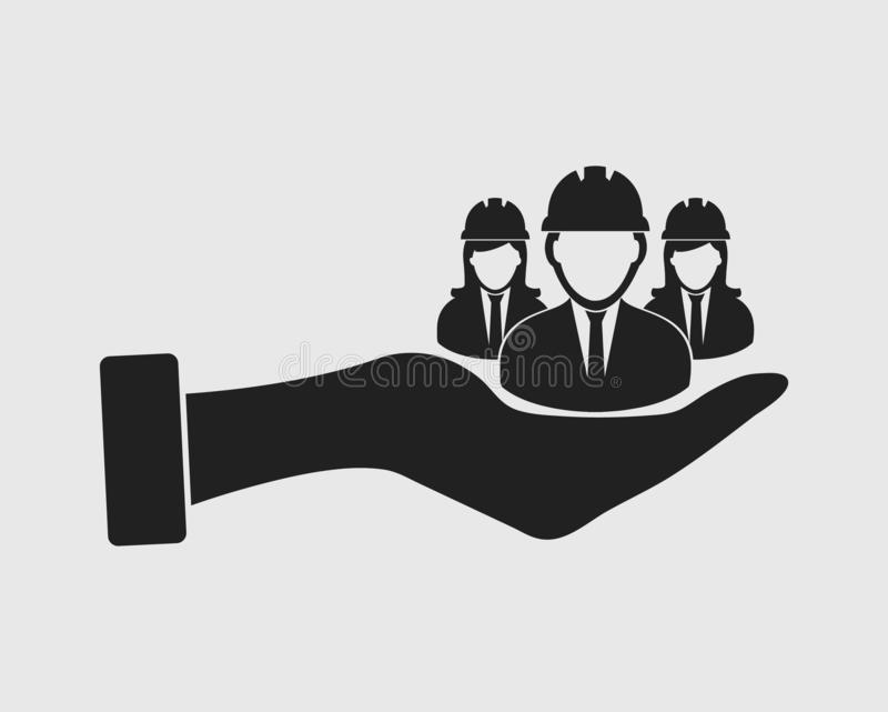 Provide Worker facility icon. Male and female engineer symbol on hand vector illustration