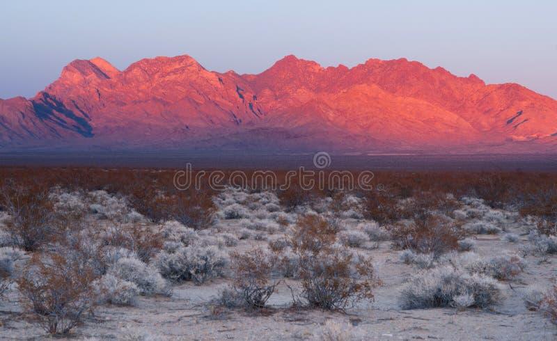 Providence Mountains Edgar & Fountain Peak Mojave Desert. The last of the light hits the mountains in the Mojave Desert stock image