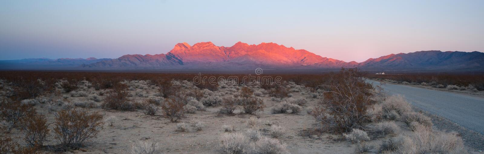 Providence Mountains Fountain Peak Mojave Desert Landscape. The last of the light hits the mountains in the Mojave Desert royalty free stock photo