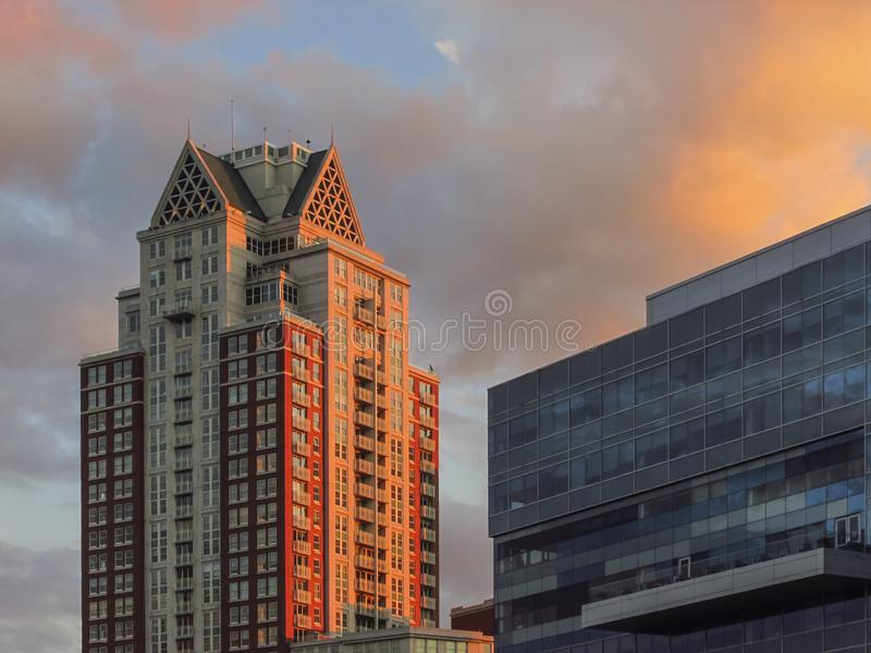 Providence, Rhode Island cityscape. With sunset light and blue sky and clouds stock images