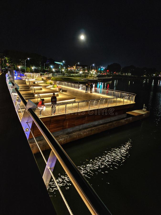 Providence, Rhode Island new walkway at night. A view of the new Providence, Rhode Island walkway at night with the moon shining stock images