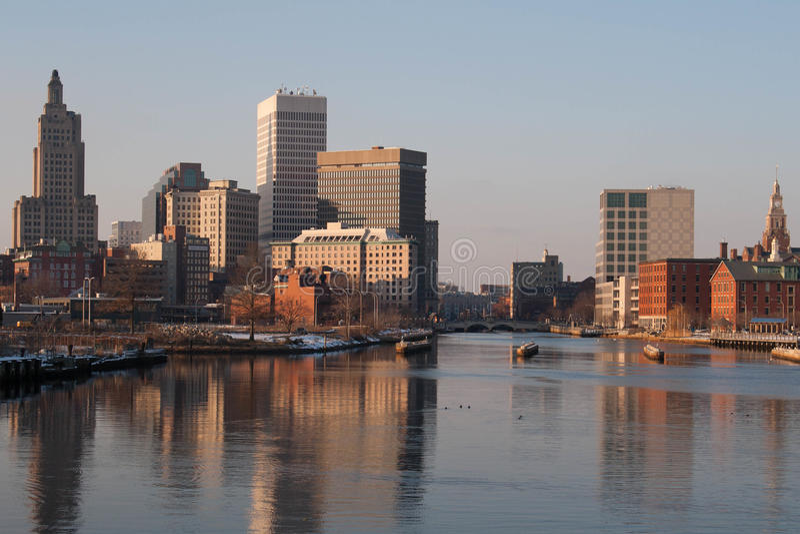 Providence, Rhode Island Skyline en hiver images libres de droits