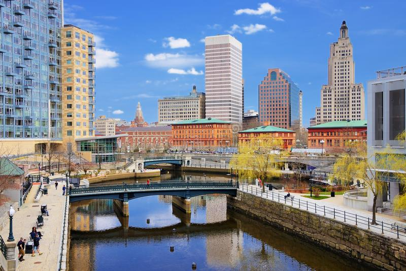 Providence, Rhode Island Skyline. People enjoy Waterplace Park April 10, 2013 in Providence, RI. The park was completed in 1994 with Venice-styled Pedestrian royalty free stock image