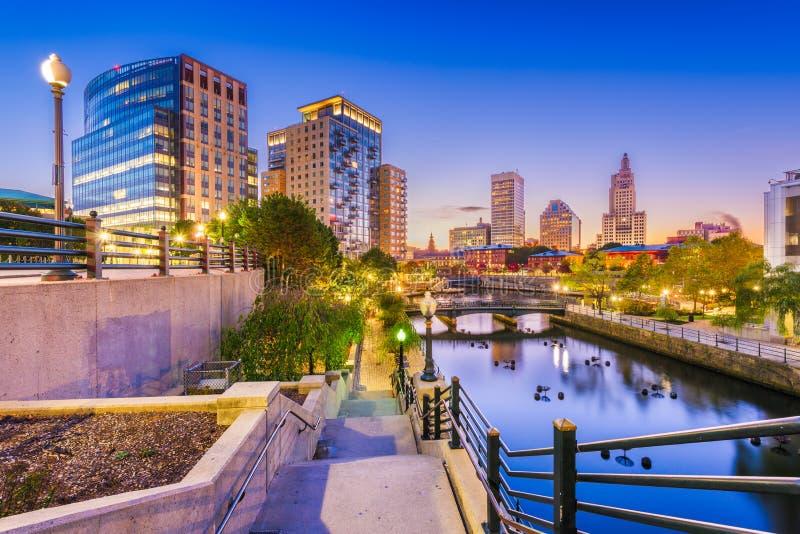 Providence, Rhode Island, USA park and skyline. At dawn royalty free stock photos