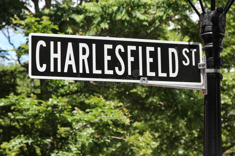 Providence street. Providence, Rhode Island. City in New England region of the United States. Charlesfield Street royalty free stock photo