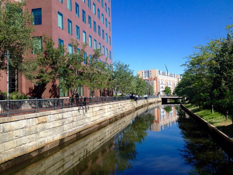 Providence street view. View at street in downtown of Providence, Rhode Island, USA royalty free stock photography