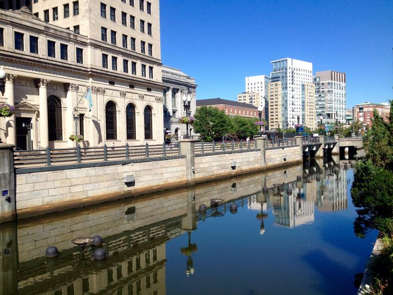 Providence street view. View at street in downtown of Providence, Rhode Island, USA royalty free stock images