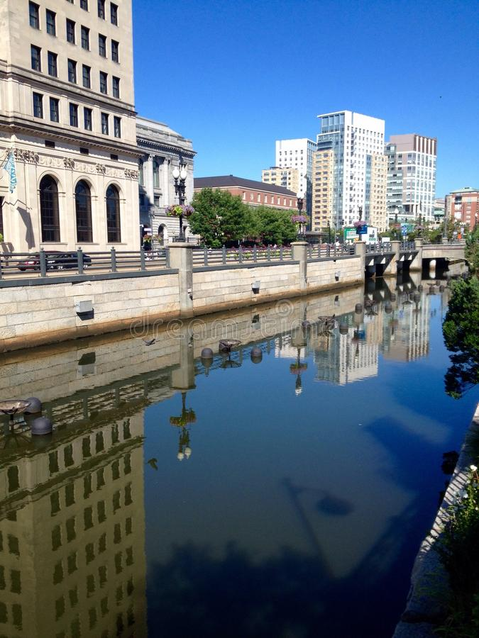 Providence street view. View at street in downtown of Providence, Rhode Island, USA stock photos