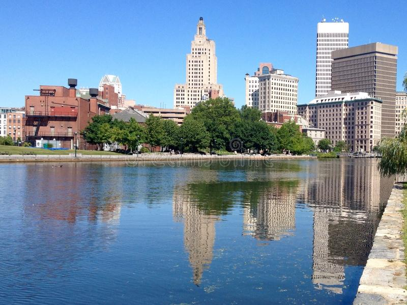 Providence street view. View at street in downtown of Providence, Rhode Island, USA royalty free stock photos
