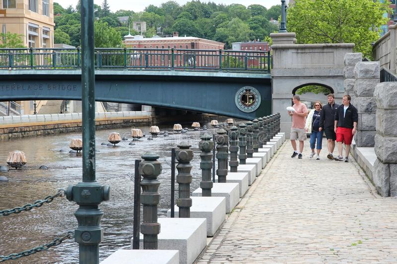 Providence. USA - JUNE 8, 2013: People visit riverfront in .  is the capital and most populous city in Rhode Island with 182 thousand citizens royalty free stock photo
