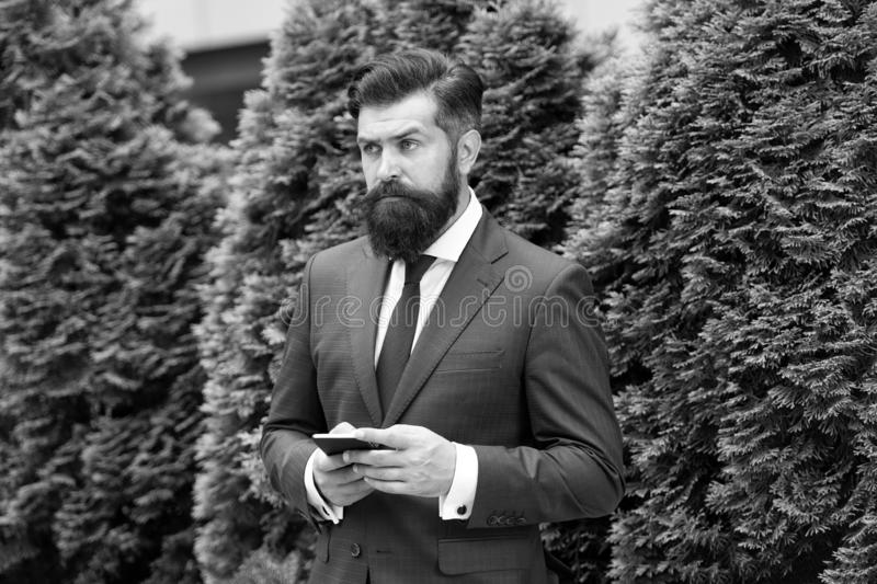 Providing feedback. serious businessman with smartphone. agile business. bearded man on business meeting. using modern stock photo