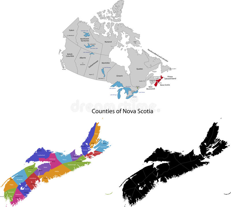 Province of Canada - Nova Scotia. Administrative division of Canada. Map of Nova Scotia with regions and main cities, vector illustration