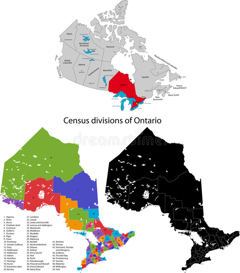 Province of Canada - Ontario. Administrative division of Canada. Map of Ontario with census divisions, vector illustration royalty free illustration