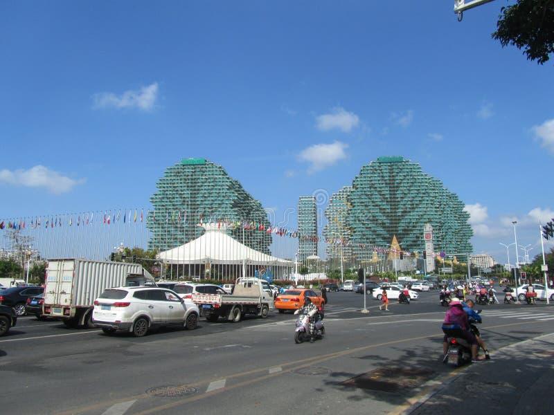 Province de la Chine, Hainan, Sanya City 24 janvier 2018 l'hôtel grand d'arbre de couronne de beauté images libres de droits