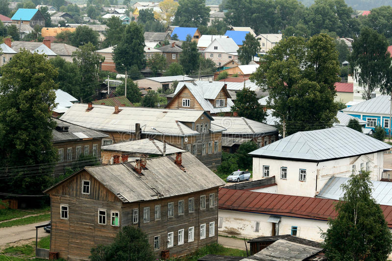 Province of Russian wooden houses small town. Good royalty free stock photos
