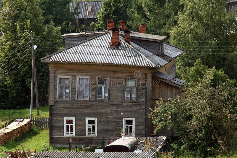 Province of Russian wooden houses town. Province of Russian wooden houses small town royalty free stock photo