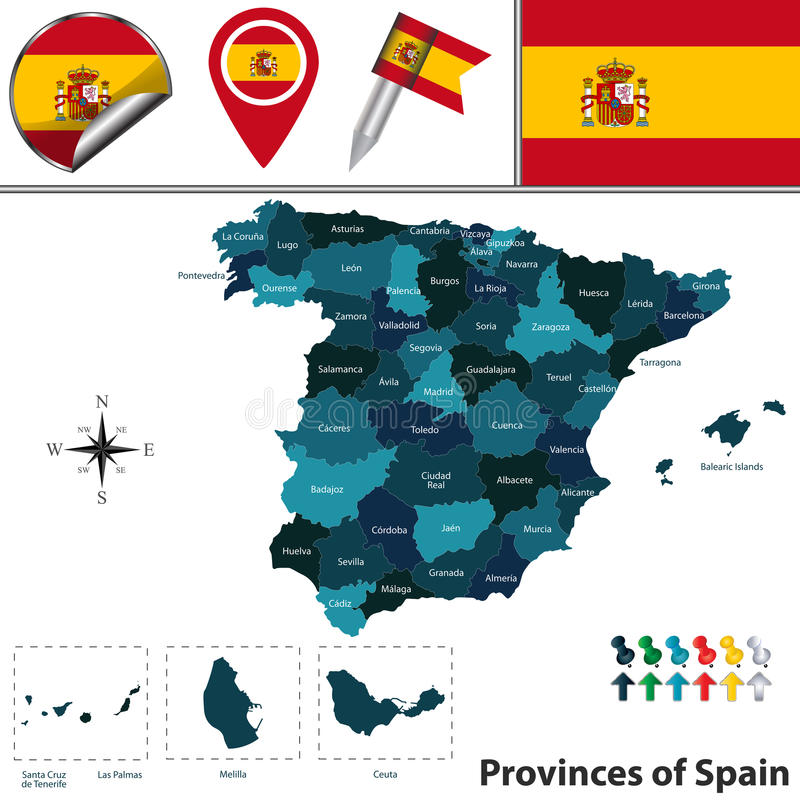 Provinces of Spain. Vector map of Spain with fifty named provinces, flags and icons vector illustration