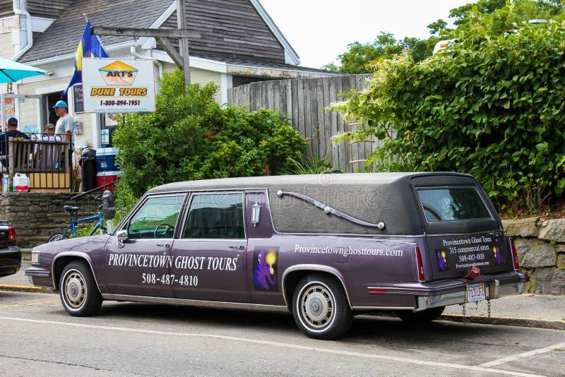 Provincetown鬼魂游览柩车 免版税库存图片