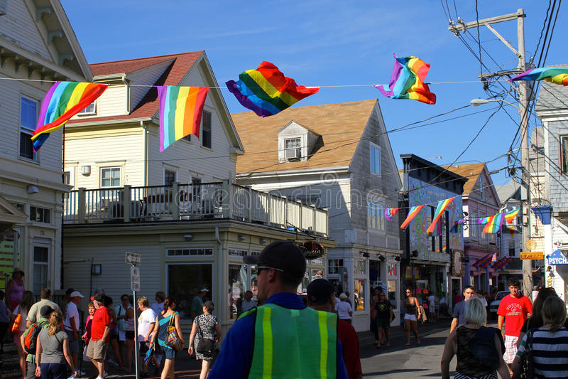 Provincetown. Center of the LGBT pride movement in Massachusetts. Provincetown has a significant gay population. and there had been a gay presence in royalty free stock photos