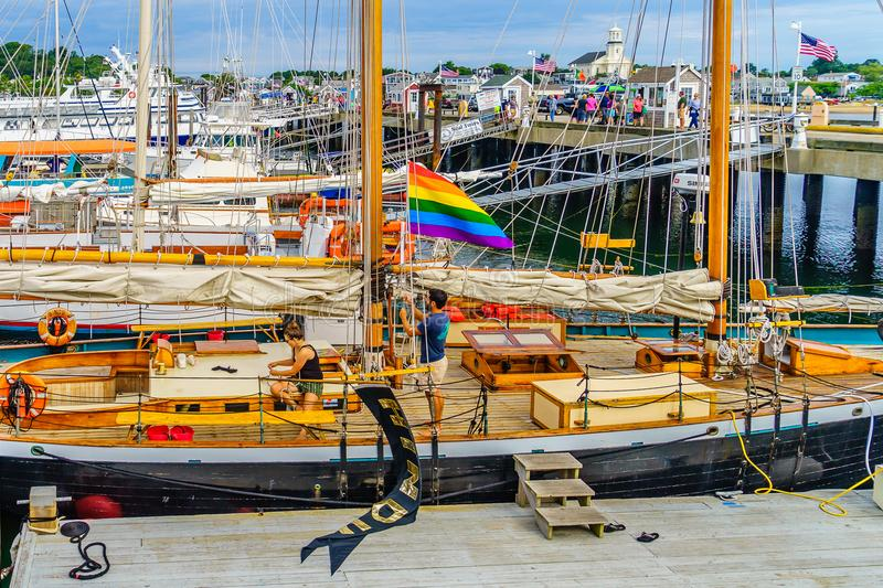 Provincetown, Cape Cod, Massachusetts, US - August 15, 2017 Yacht, ship, boat in marina stock image
