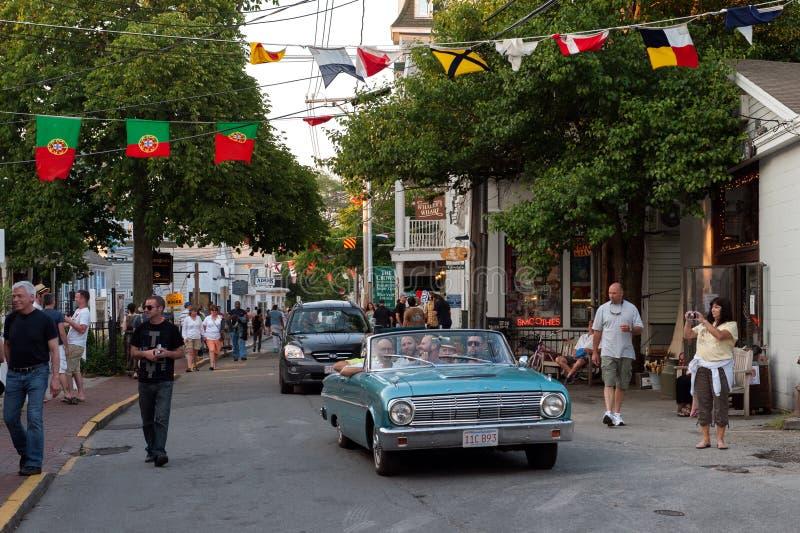Het kruisen op Commerciële Straat stock foto's