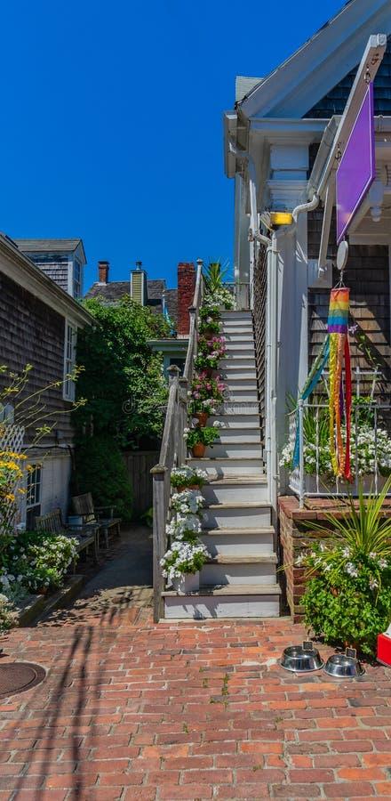 Provincetown Massachusetts Augusti 2017 på slutet av Cape Cod Provincetown har en stor glad befolkning av invånare och turister arkivfoton