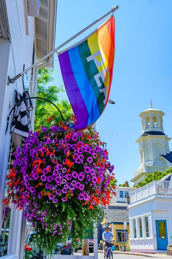 Provincetown Massachusetts Augusti 2017 på slutet av Cape Cod Provincetown har en stor glad befolkning av invånare och turister royaltyfri foto