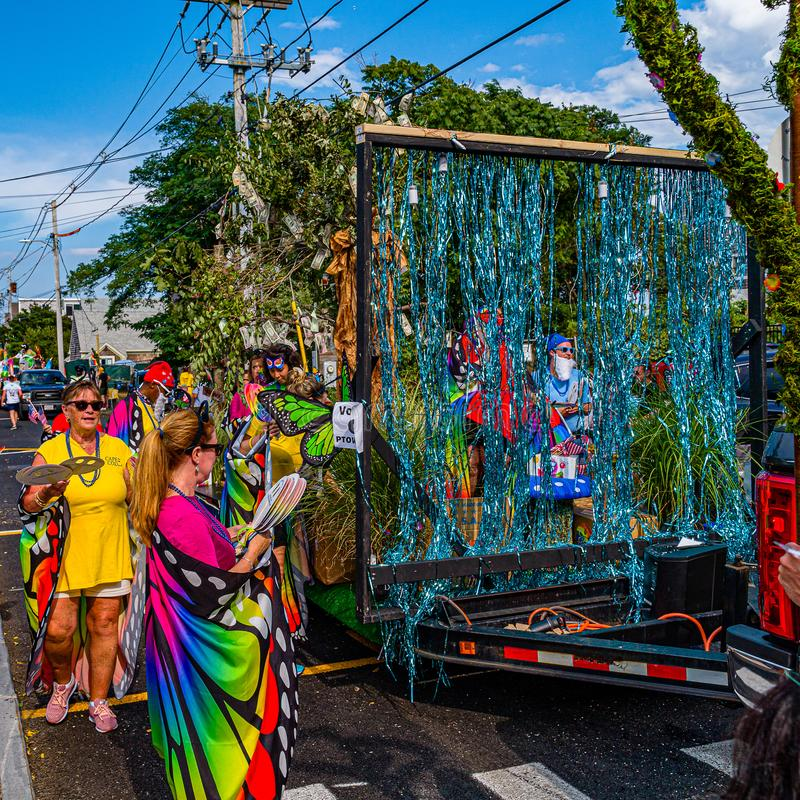 Provincetown, Massachusetts US - August 22, 2019 People walking in the Annual Provincetown Carnival Parade on Commercial Street. Provincetown, Massachusetts US stock image